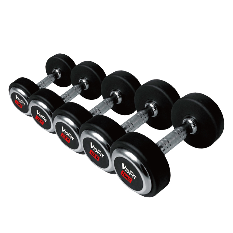 Rubber Dumbbell with Chromed Cap